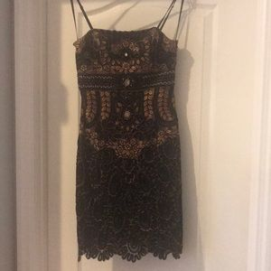 Sue Wong Black and Gold Cocktail Dress